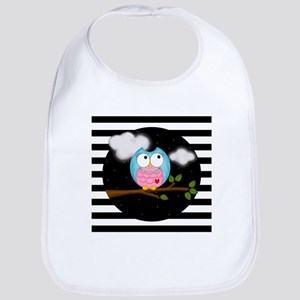 Pink Blue Owl Black Stripes Bib