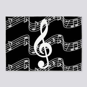 Music Staffs with Treble Clef 5'x7'Area Rug