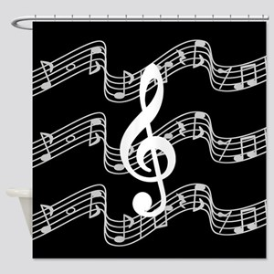 Music Staffs with Treble Clef Shower Curtain