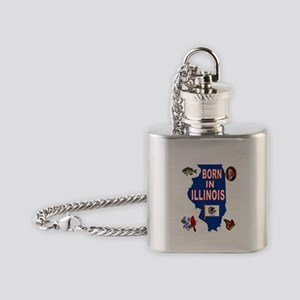 ILLINOIS BORN Flask Necklace