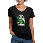 Stockton Family Crest Women's V-Neck Dark T-Shirt