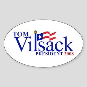 TOM VILSACK PRESIDENT 2008 Oval Sticker