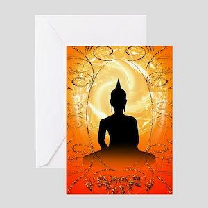 Buddha on mysical background Greeting Cards