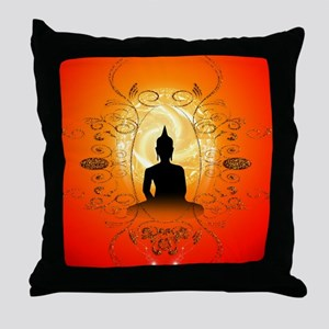 Buddha on mysical background Throw Pillow