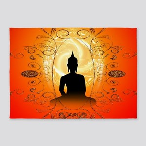 Buddha on mysical background 5'x7'Area Rug