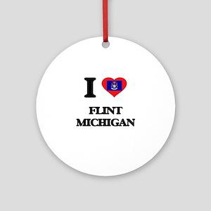 I love Flint Michigan Ornament (Round)
