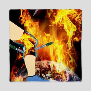 World 'a Fire Blazing Blades Knee Queen Duvet