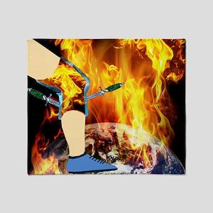 World 'a Fire Blazing Blades Knee Throw Blanket