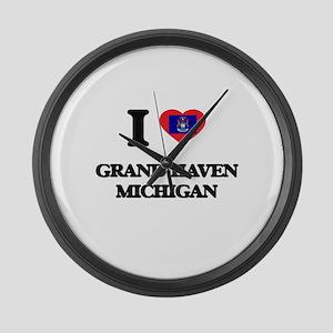 I love Grand Haven Michigan Large Wall Clock