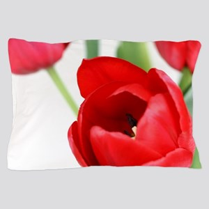 Red Spring Tulips Pillow Case