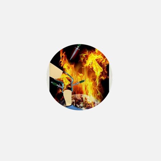 World 'a Fire Blazing Blades Knee Mini Button