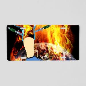 World 'a Fire Blazing Blade Aluminum License Plate