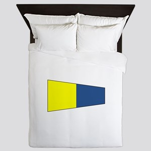 "Pennat Flag Number ""5"" Queen Duvet"