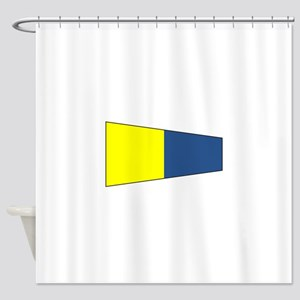 "Pennat Flag Number ""5"" Shower Curtain"