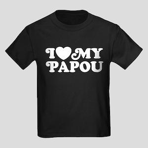 I Love My Papou Kids Dark T-Shirt