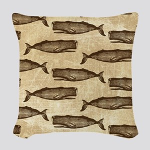 Vintage Whale Pattern Brown Woven Throw Pillow