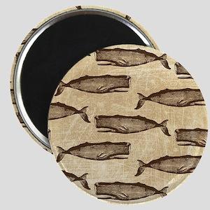 Vintage Whale Pattern Brown Magnet