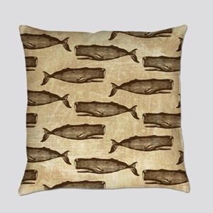 Vintage Whale Pattern Brown Everyday Pillow