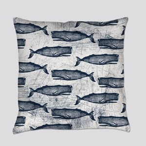 Vintage Whale Pattern Blue Everyday Pillow