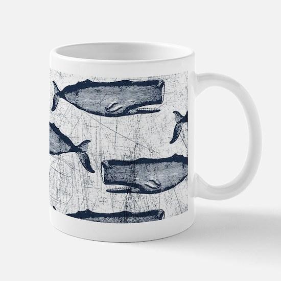 Vintage Whale Pattern Blue Mug