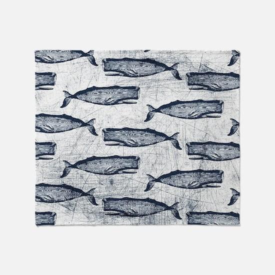 Vintage Whale Pattern Blue Throw Blanket