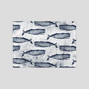 Vintage Whale Pattern Blue 5'x7'Area Rug