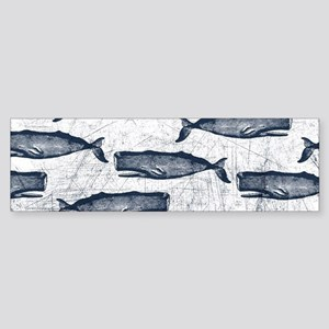 Vintage Whale Pattern Blue Sticker (Bumper)