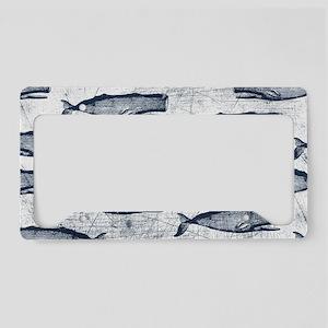 Vintage Whale Pattern Blue License Plate Holder