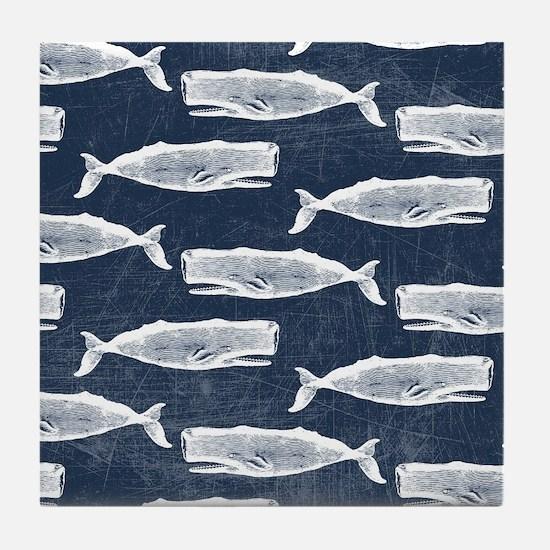 Vintage Whale Pattern White Tile Coaster