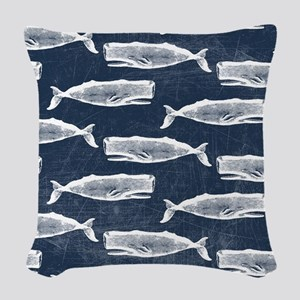 Vintage Whale Pattern White Woven Throw Pillow