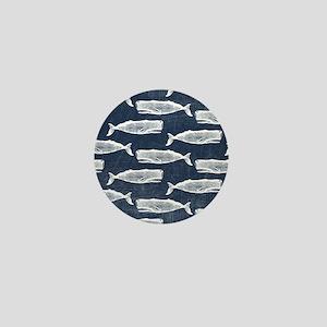 Vintage Whale Pattern White Mini Button