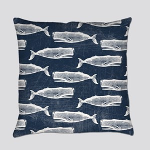 Vintage Whale Pattern White Everyday Pillow
