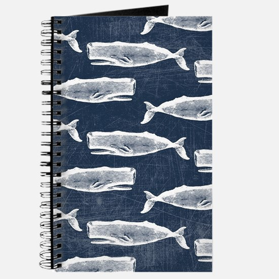 Vintage Whale Pattern White Journal