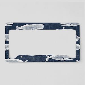 Vintage Whale Pattern White License Plate Holder
