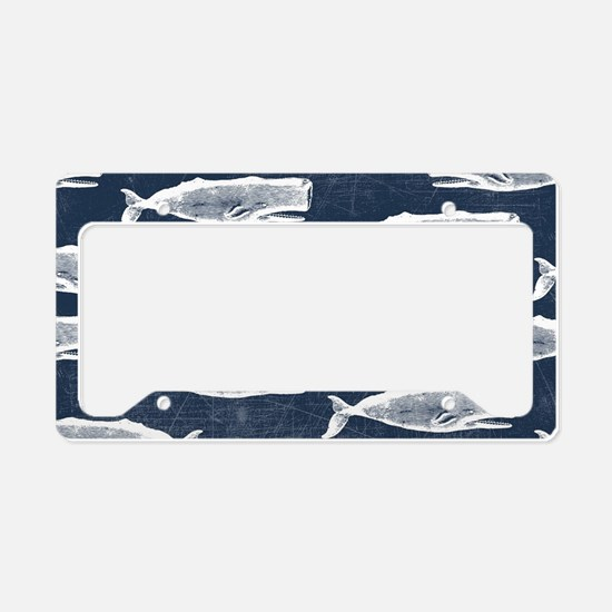 Vintage Whale Pattern White License Plate Holder