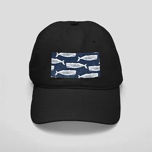 Vintage Whale Pattern White Black Cap