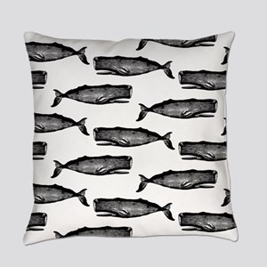 Vintage Whale Pattern Everyday Pillow