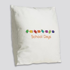 School Days Burlap Throw Pillow