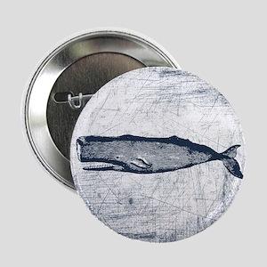 """Vintage Whale Dark Blue 2.25"""" Button"""