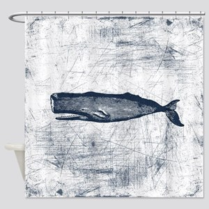 Vintage Whale Dark Blue Shower Curtain