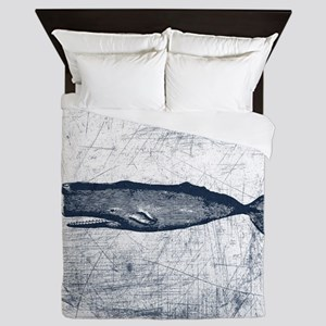 Vintage Whale Dark Blue Queen Duvet