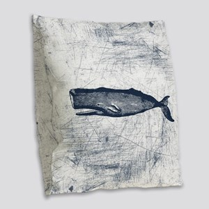 Vintage Whale Dark Blue Burlap Throw Pillow