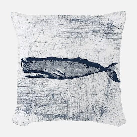 Vintage Whale Dark Blue Woven Throw Pillow