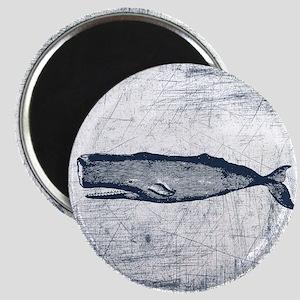 Vintage Whale Dark Blue Magnet