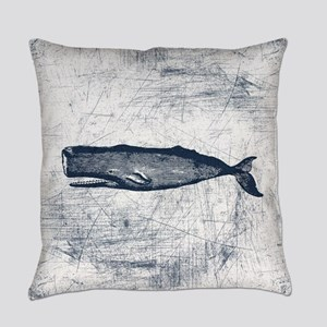 Vintage Whale Dark Blue Everyday Pillow