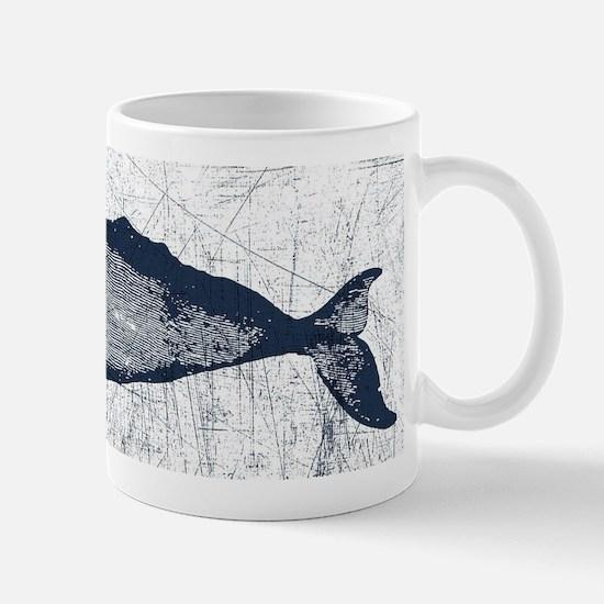 Vintage Whale Dark Blue Mug