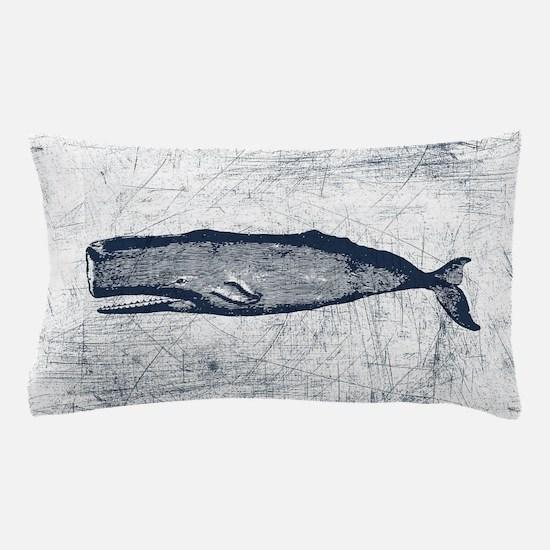 Vintage Whale Dark Blue Pillow Case