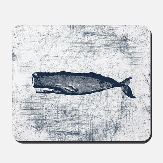 Vintage Whale Dark Blue Mousepad