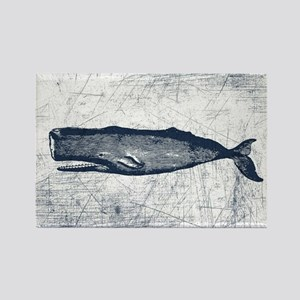 Vintage Whale Dark Blue Rectangle Magnet