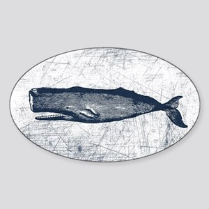 Vintage Whale Dark Blue Sticker (Oval)